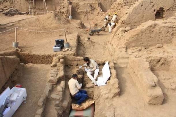 Archaeologists work to uncover one of the wooden statues. Credit: ANDINA
