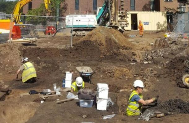Archaeologists excavating the site in Durham, where the human remains were found. (Durham University)