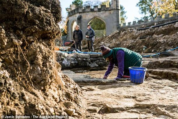 Archaeologists excavating the Bek's Chapel site at Auckland Castle. (Jamie Sproates / The Auckland Project)