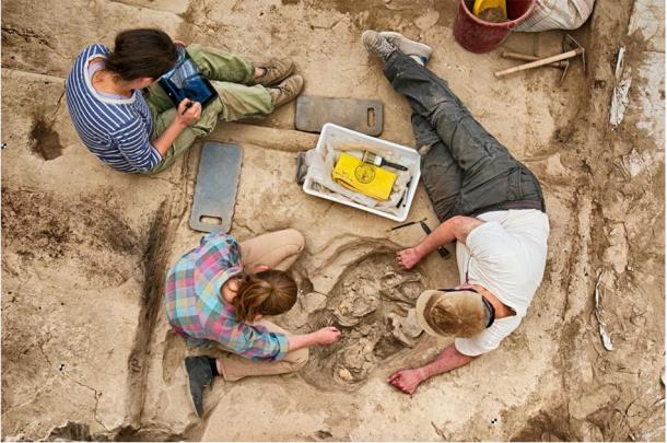 Archaeologists unearth the skeletal remains from the Çatalhöyük excavation site. (Çatalhöyük Research Project / Jason Quinlan)