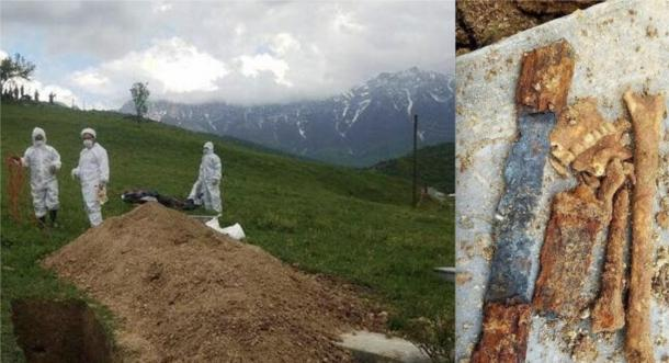 Left: archaeologists excavating the site. Right: part of the sword and skeletal remains of the Parthian warrior unearthed at the site. (Radiofarda)