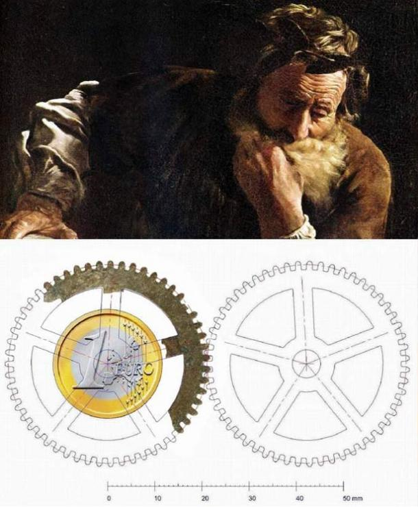 Top: Archimedes Thoughtful by Fetti, 1620 (public domain). Bottom: illustration of the Olbia gear