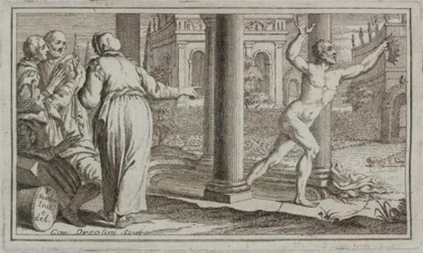 """Archimedes' Principle' or the 'Principle of Buoyancy'. Vignette from the title of Italian page """"Historical and critical information about the life, inventions and writings of Archimedes of Syracuse"""" by Count Giammaria Mazzuchelli (1707-1765), published in Brescia, Italy in 1737. (Public Domain)"""