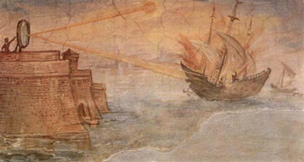 A depiction of how Archimedes set on fire the Roman ships before Syracuse with the help of parabolic mirrors.