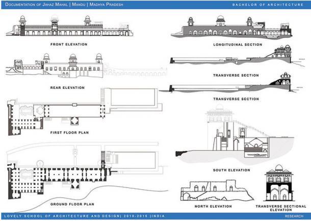 Architectural plans of the Jahaz Mahal, Mandu, India