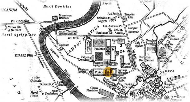 Location of the Area Sacra in Ancient Rome.