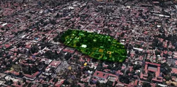 Area of the archaeological excavations in Tlalpan, Mexico City.