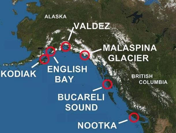 Areas of Alaska and British Columbia Explored by Spain.