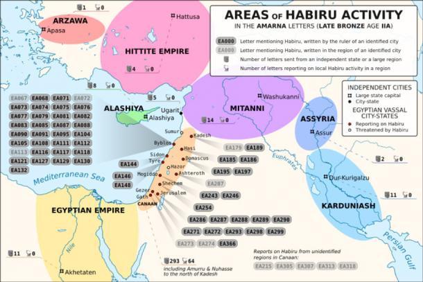 Areas of Habiru (Hapiru, Khabiri, Apiru) activity as reported in the Amarna letters corpus (CC BY-SA 3.0)