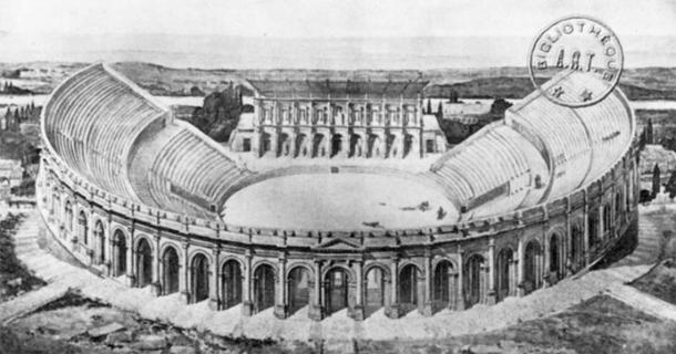 Arènes de Lutèce as it was during the occupation of the Roman Empire