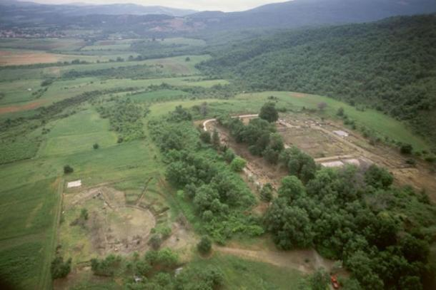 Arial view of the ruins of ancient Aegae showing the palace and theatre. (Image: © David Grant 2019)