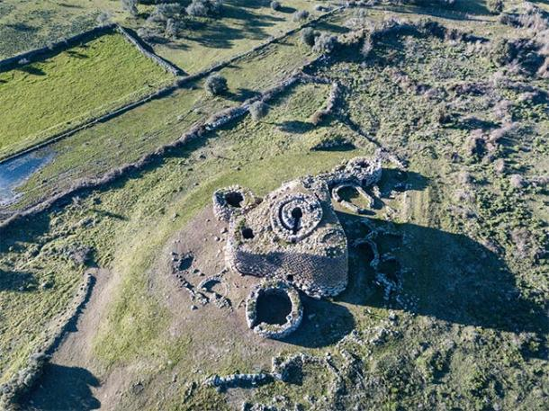 Arial view of Nuraghe Losa showing it's triangular shape with 4 towers. (marco / Adobe Stock)