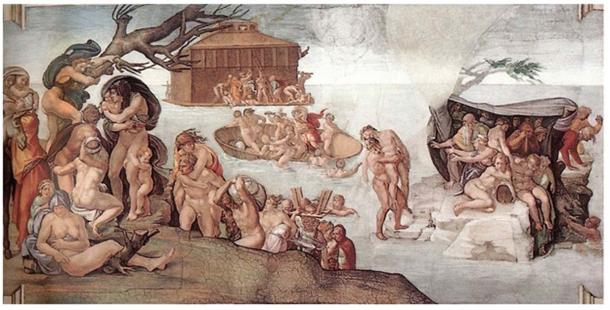 Fresco of  Ark and Deluge at the Sistine Chapel.