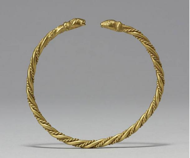 Arm rings or armlets made by twisting thick and thin rods of gold or silver were common during the Viking period, when wealth was literally worn on one's sleeves. Arm rings, the portable savings accounts of the Vikings, would be collected, exchanged, or hacked up to provide weighed amounts of gold to purchase goods. 9th century.
