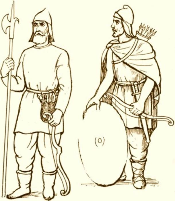 Armenian foot soldiers wearing the traditional Mithraic /Phrygian caps.