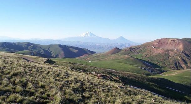 A view of the mountains in the Armenian plateau at the Turkey-Iran border. In the center background is Mount Ararat.