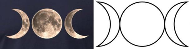 Around the world lunar goddesses were worshiped as three aspects, matching the monthly lunar cycle: waxing, full and waning.