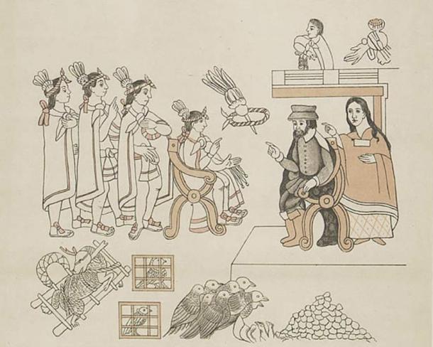 Arrival of Cortés in Tenochtitlan/ Cortés and La Malinche meet Moctezuma II, November 8, 1519.