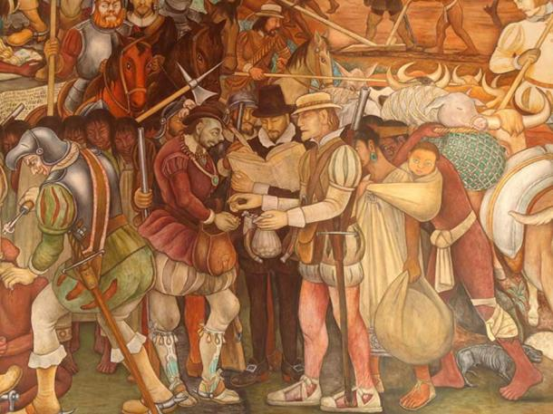 Arrival of Hernan Cortez by Diego Rivera in the Mexican Palacio Nacional, detail