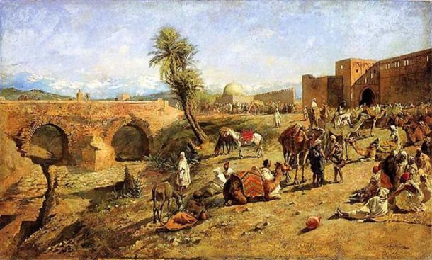 'Arrival of a Caravan Outside the City of Morocco' by Edwin Lord Weeks.