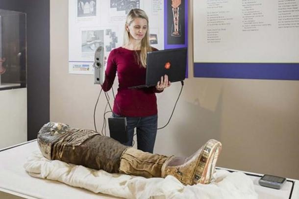 An Artec Eva handheld 3D scanner was used to scan the mummy's surface.