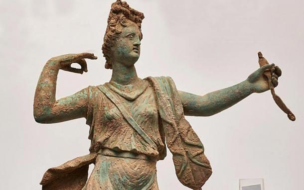 Detail of the front of the Artemis bronze sculpture.