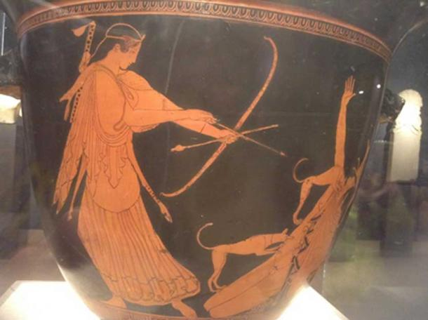 Artemis slaying Actaeon. From Beazley, John D. Attic Red-figure Vases in American Museums. Cambridge: Harvard UP, 1918. This drawing is found on page 113 of that text.