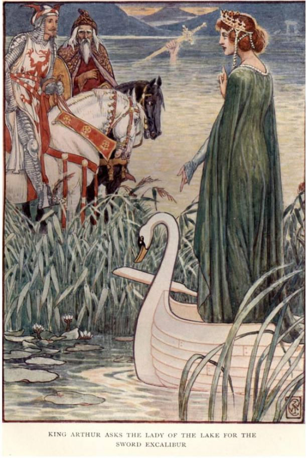 In Henry Gilbert's King Arthur's Knights: The Tales Retold for Boys and Girls, Arthur and Merlin appeal to the Lady of the Lake.