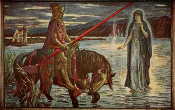 "Illustration by H.J. Ford for Andrew Lang's Tales of Romance, 1919. ""Arthur meets the Lady of the Lake and gets the Sword Excalibur."""