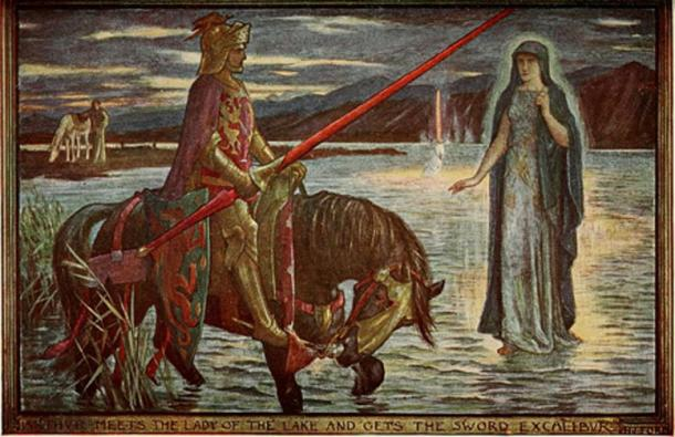 Arthur meets the Lady of the Lake and gets the sword Excalibur. Tales of romance, 1906