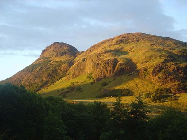 A view of Arthur's Seat, Edinburgh, Scotland from Pollock Halls.