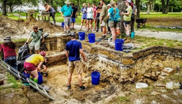 Artifacts at the site of the tavern were found about 5 feet down by a crew of students. It is believed to have burned in the 1760s and the walls fell in on top of the artifacts, preserving them. (Kathy Sykes)