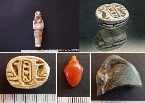 Artifacts found at the site include shabtis, amulets, scarabs belonging to various periods between Thutmosis II-Amenhotep II. The scarab shown above is of Men-Kheper-Re i.e. Thutmosis III. (Courtesy of Gebel el Silsila Project and Ministry of Antiquities)