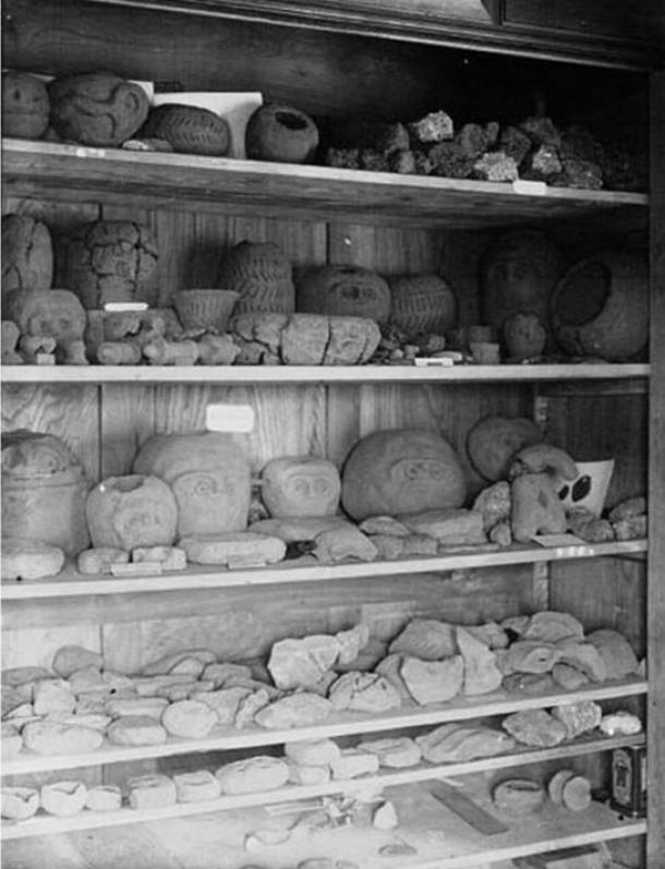 Artifacts in the Glozel museum. 1920s.