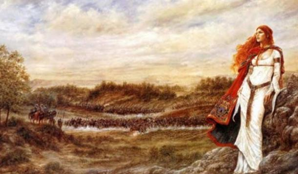 Artist's depiction of Queen Boudicca with her army in the background.