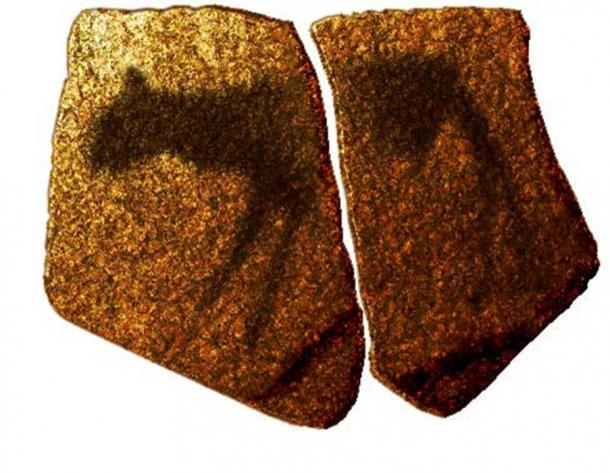 Artist impression of a zoomorphic pictogram on stone slab from the MSA of Apollo 11 Cave, Namibia (Public Domain)