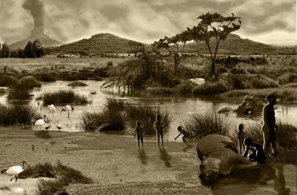 Artistic impression of scene at Melka Kunture. Matthew Bennett, Author provided