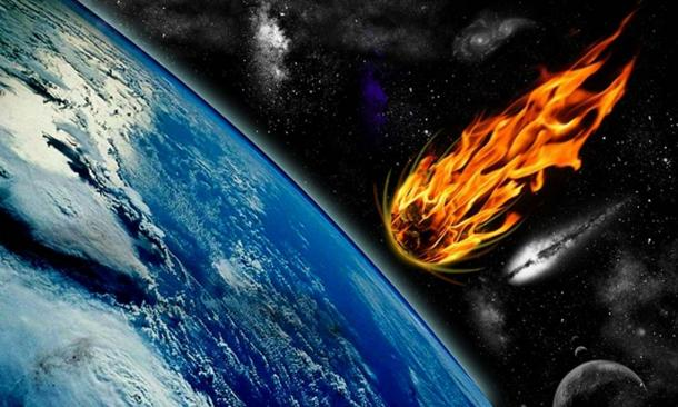Artistic representation of a comet or meteor heading towards Earth.