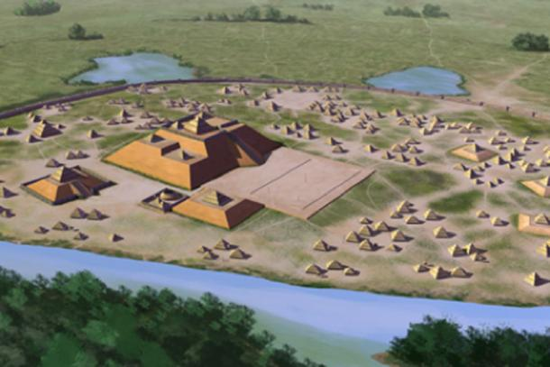 Artist's conception of the Etowah site (9 BR 1), a Mississippian culture archaeological site located on the banks of the Etowah River in Bartow County, Georgia. Built and occupied in three phases, from 1000–1550 AD. (Herb Roe/CC BY SA 4.0)