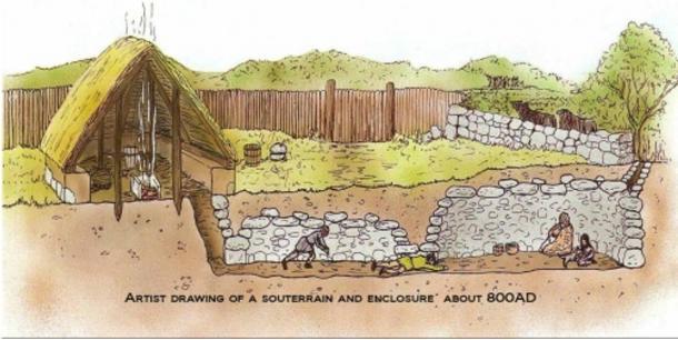 Artists drawing of a souterrain below an enclosure c. 800AD.