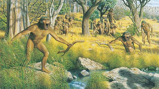 Artists impression of a group of australopiths.