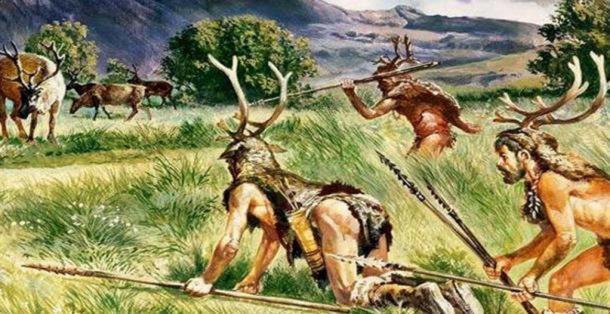 Artist's impression of prehistoric hunters.