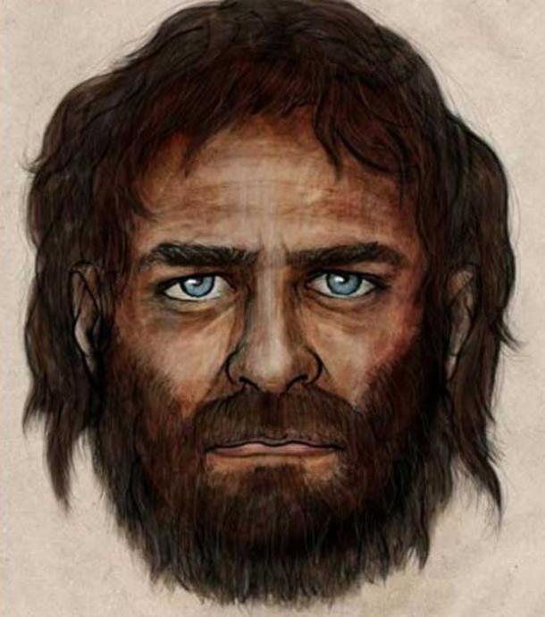 Artist's impression of a blue-eyed hunter gatherer.