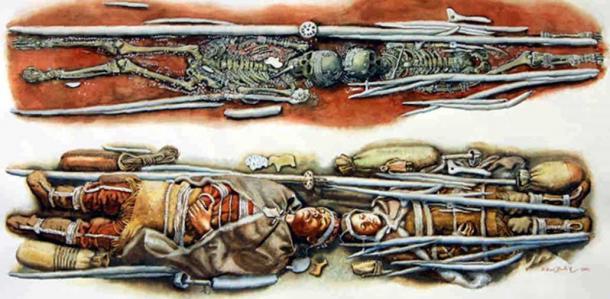 Artist's reconstruction of one of the Sunghir burials. Illustration © Libor Balák