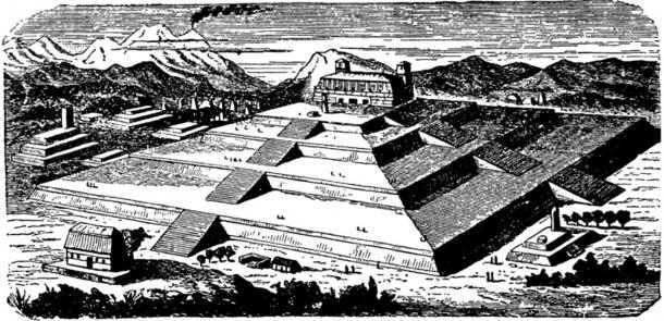Artist's rendition of what the Great Pyramid of Cholula may have looked like during its prime.