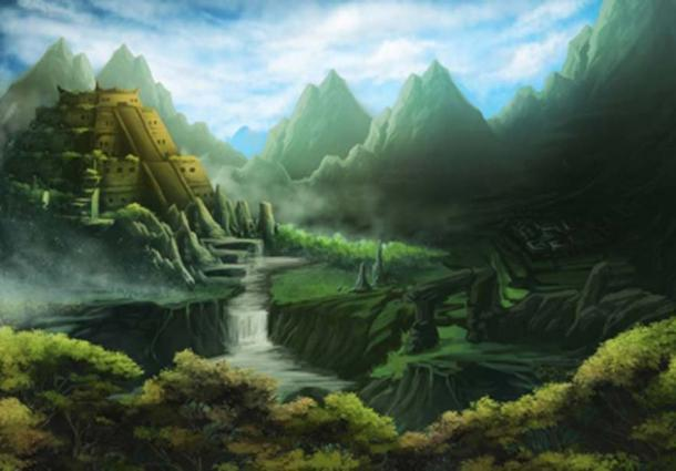 Artist's representation of an Aztec temple in a mystery land. Aztlan is the Aztec's legendary homeland. (Christopher /Adobe Stock)