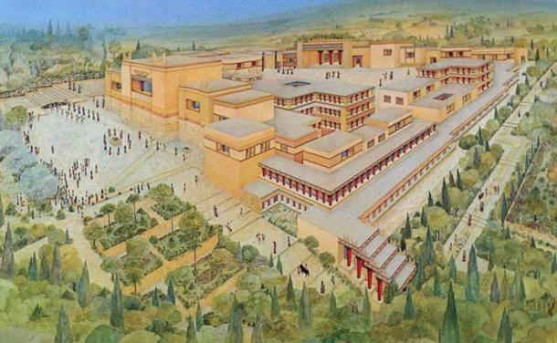 Artist's representation of the Palace at Knossos.