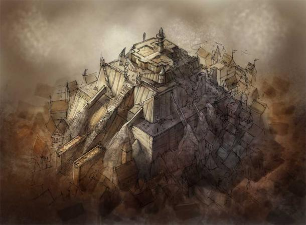 Work illustrating the appearance of Jiroft Ziggurat.  The ancient monument discovered near Jiroft in southeastern Iran is considered by some experts to be the original cradle of civilization.  Excavations have revealed a two-story citadel covering 33 acres (13.5 hectares).  (David Revoy - Blender Foundation / CC BY 3.0)