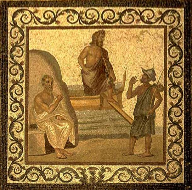 Asclepius (center) arrives in Kos and is greeted by Hippocrates (left) and a citizen (right), mosaic, 2nd–3rd century AD. (CC BY-SA 2.5)