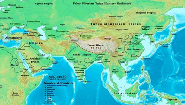 Asia in 323 BC, showing the Massagetae located in modern-day Central Asia.